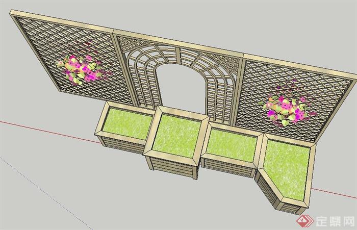 园林景观木质花格栅设计su模型(3)