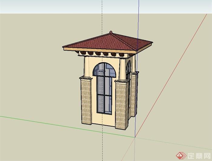 某小区欧式门卫室设计su模型