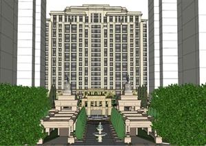 某欧式住宅小区高层建筑及景观设计SU(草图大师)模型-欧陆3D模型