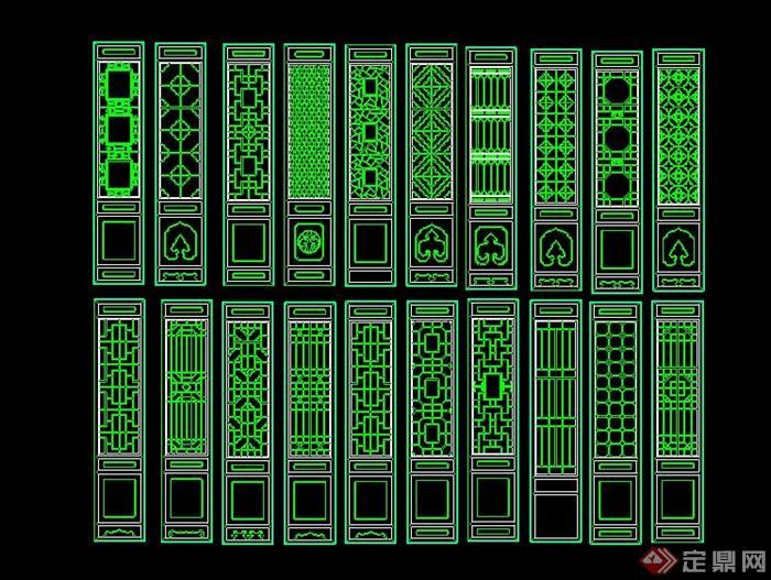 古典中式屏風CAD圖塊(1)