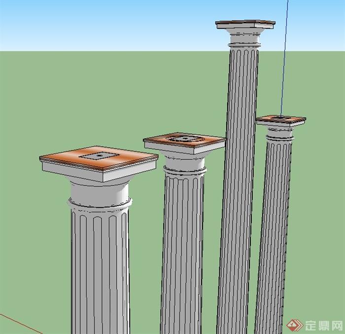 26款欧式柱子设计SU模型(3)