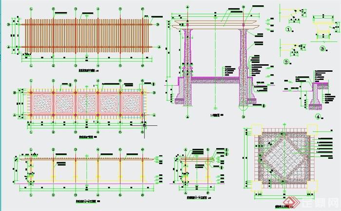 园林景观节点条形廊架设计详图