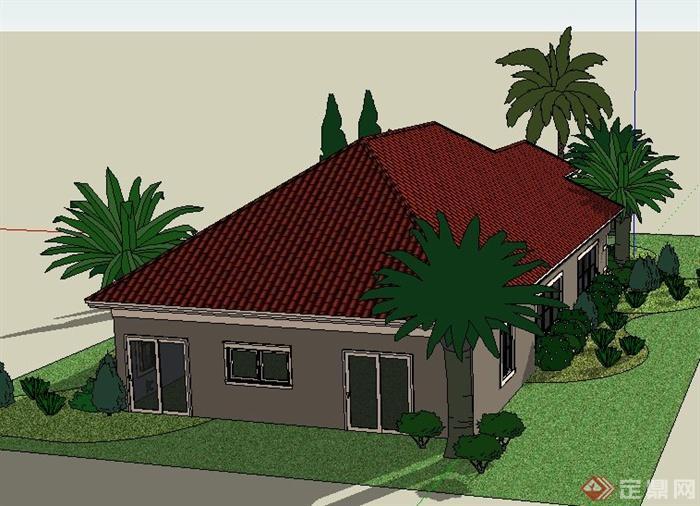 一层欧式别墅建筑设计sketchup模型[原创]