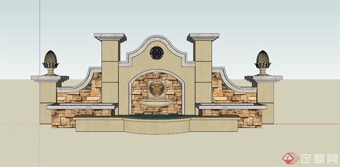欧式狮面喷水景墙su模型(3)