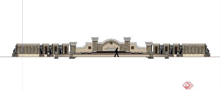 某欧式入口景墙水景su模型(3)