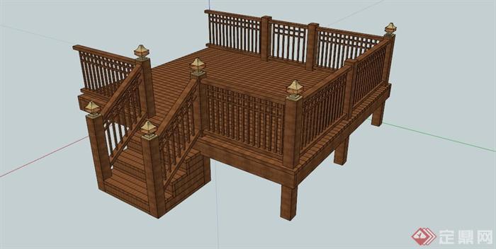 现代观景木平台su模型