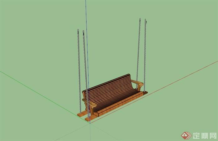 某户外木质秋千座椅su模型(1)