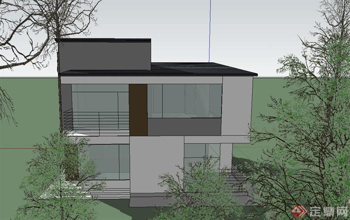 农村两层自建坡屋顶别墅建筑设计SketchUp模型