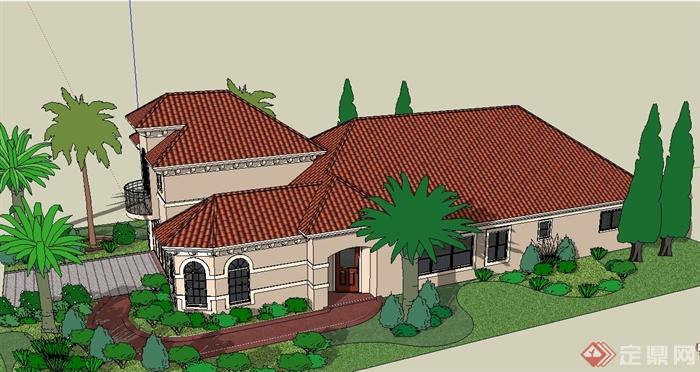 欧式风格两层坡屋顶别墅建筑设计su模型[原创]