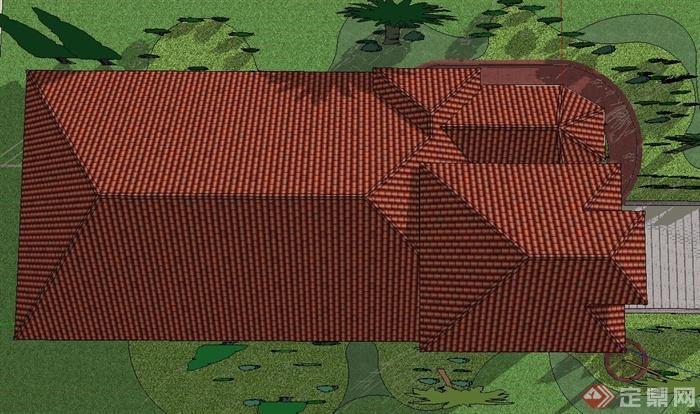 欧式风格两层坡屋顶别墅建筑设计su模型(5)