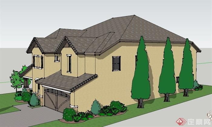欧式风格两层自家别墅建筑设计sketchup模型[原创]