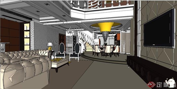 欧式风格两层别墅室内装修设计su模型(1)
