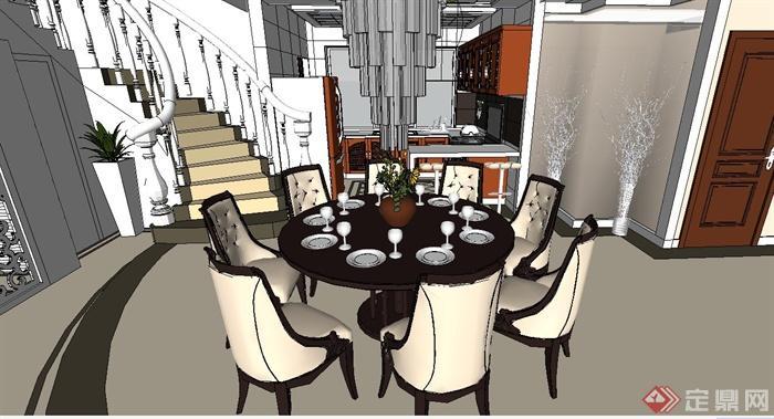 欧式风格两层别墅室内装修设计su模型[原创]