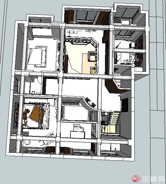 欧式风格两层别墅室内装修设计su模型(5)