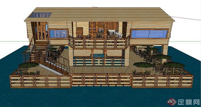 木质沿湖两层别墅会所建筑设计sketchup模型(1)