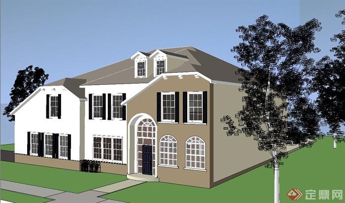 欧式风格别墅两层建筑设计sketchup模型[原创]