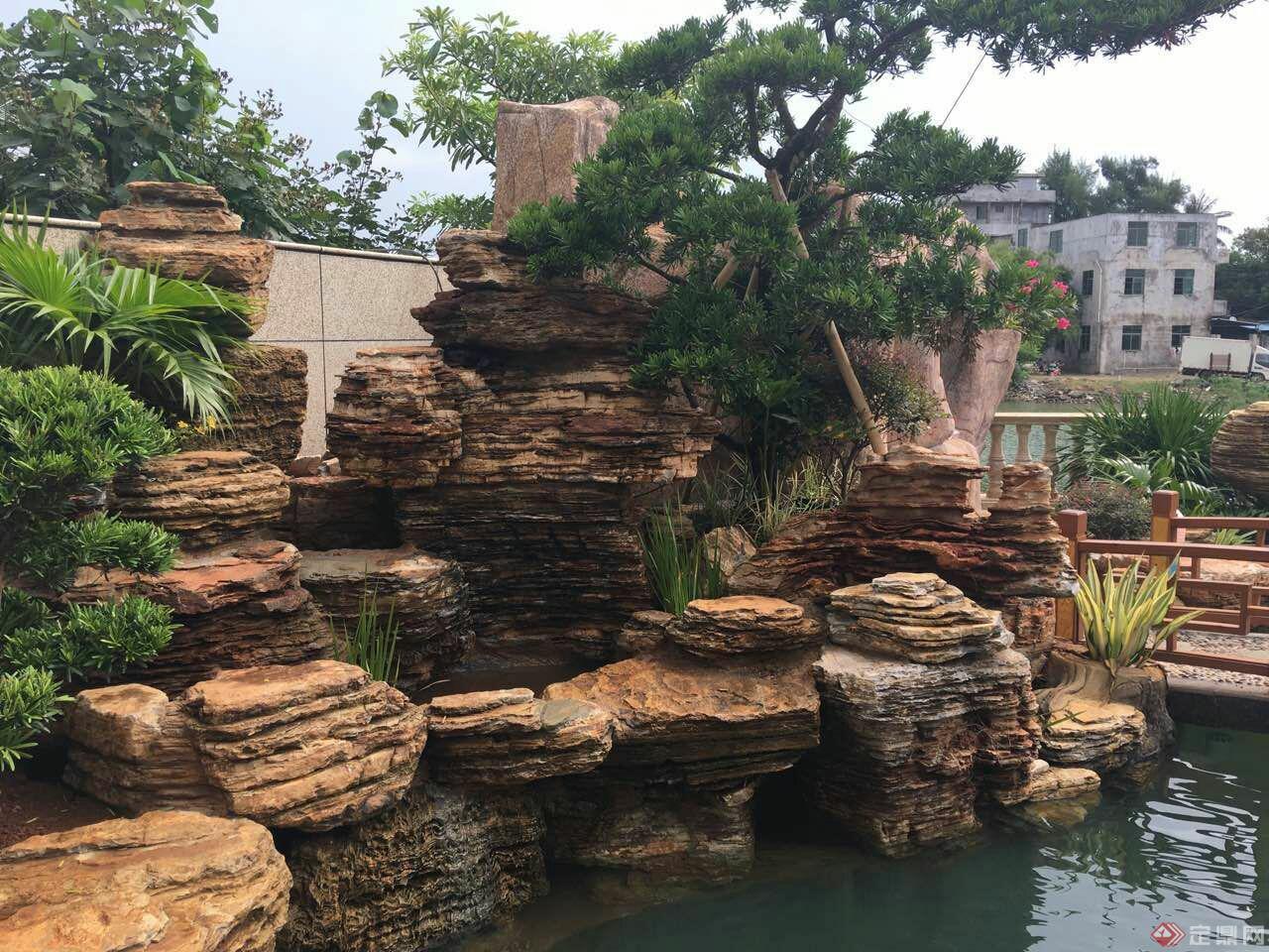 千层石假山庭院 驳岸-粤山水假山庭院设计曾平