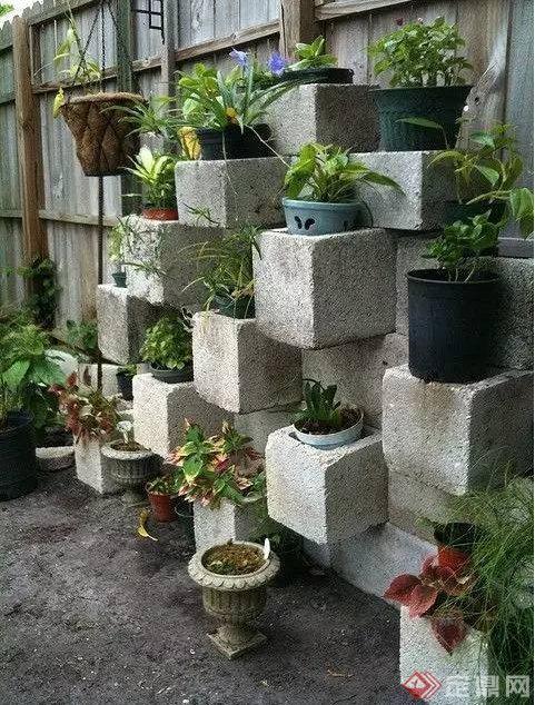 庭院景观水泥砖造景效果图