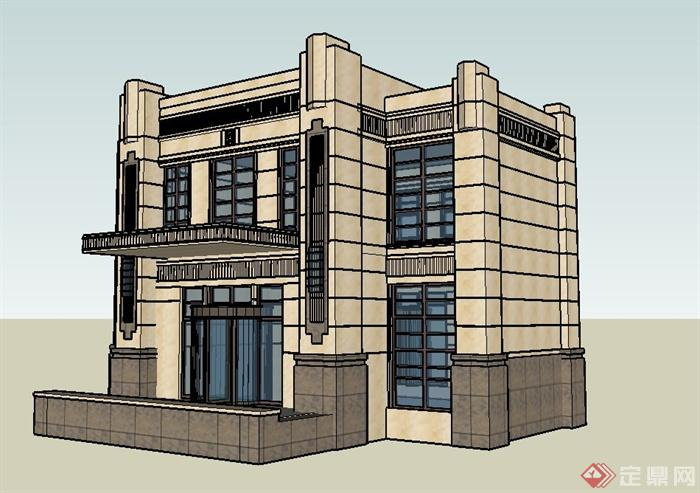 欧式两层公馆建筑设计su模型(3)