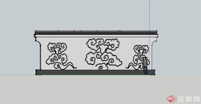 某古典中式祥云图案景墙su模型(3)