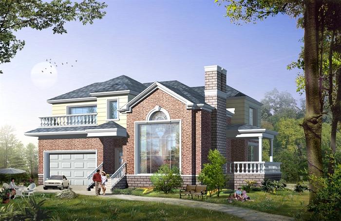 农村两层仿石面砖别墅自建房设计cad施工图效果图