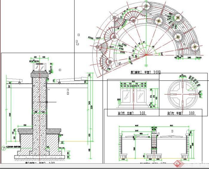 园林景观节点弧形廊架设计cad图