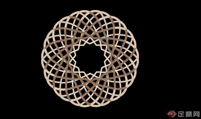 某球形木制镂空抽象雕塑su模型(2)
