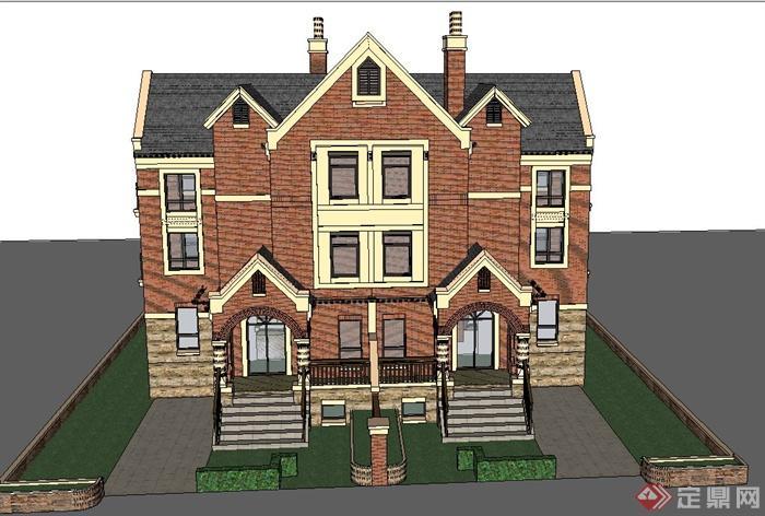 两栋三层双拼欧式风格别墅建筑设计su模型(1)