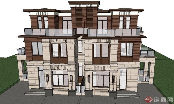 欧式风格三层双拼别墅建筑设计su模型[原创]