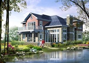 某两层坡屋顶乡村别墅建筑设计方案图及效果图-方案图别墅住宅建筑