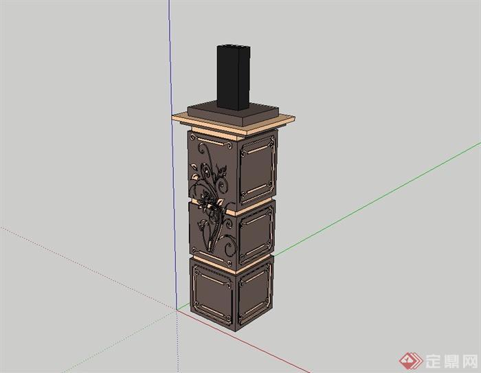 十八中不同造型的柱子設計su模型