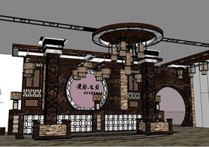 中式风格宾馆酒店前台大厅设计SU(草图大师)模型