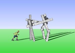 柱子抽象雕塑小品设计SU(草图大师)模型