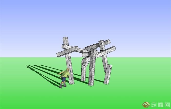 柱子抽象雕塑小品设计su模型[原创]