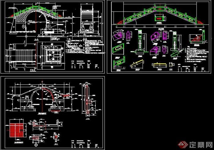 全套古典拱桥的结构设计CAD图