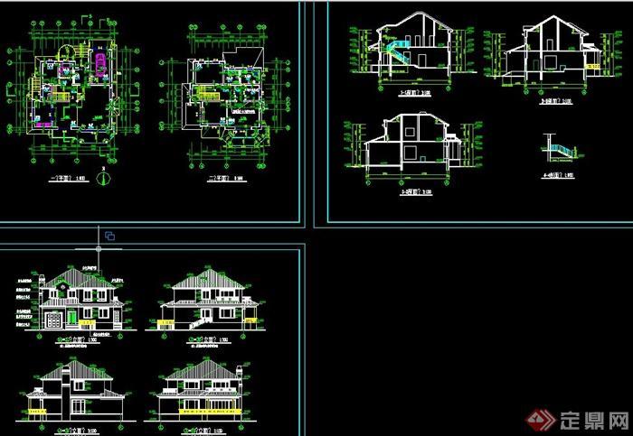 农村两层别墅自建房效果图 CAD施工图