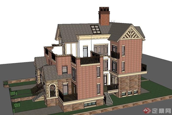 欧式三层联排双拼别墅建筑设计su模型(2)
