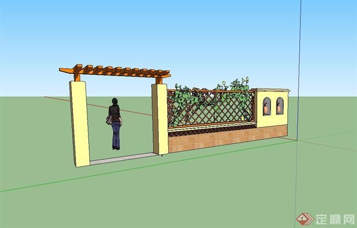 欧式风格围墙,门廊,镂空墙组合设计su模型