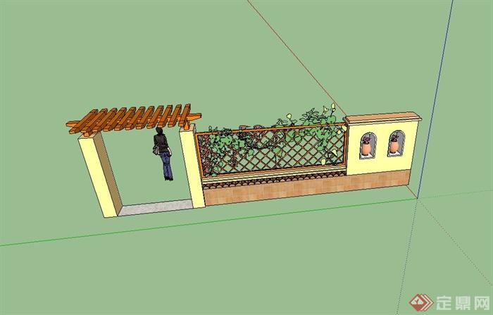 欧式风格围墙,门廊,镂空墙组合设计su模型(3)