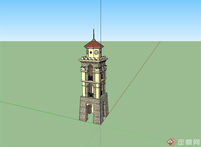 欧式观景塔楼设计su模型