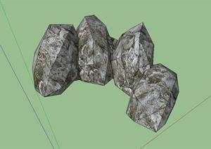 石头景石设计SU(草图大师)模型