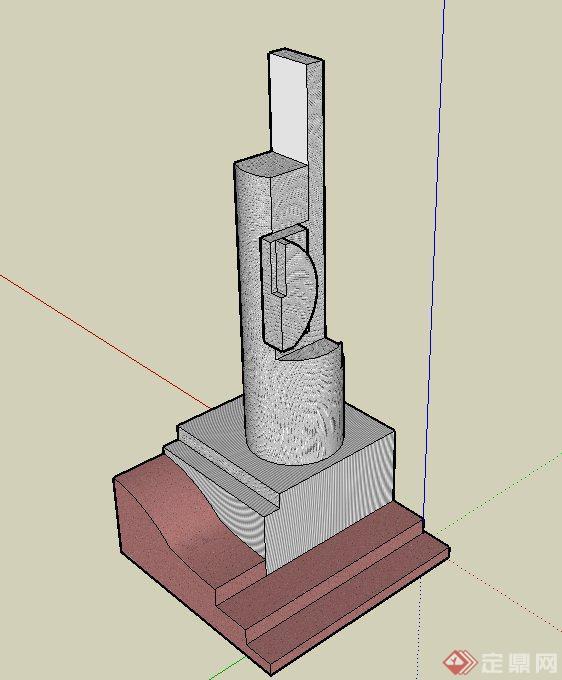 柱形抽象雕塑 小品设计su模型[原创]