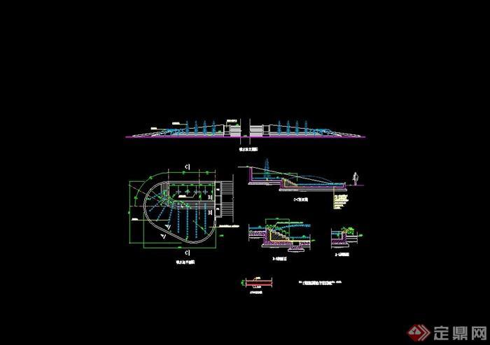 个不同的喷泉 水池设计cad施工图