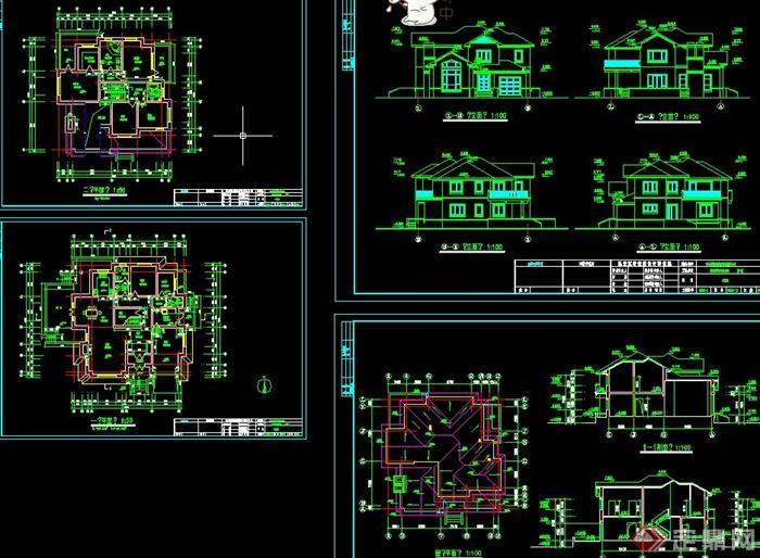 简欧两层坡屋顶农村别墅自建房效果图 CAD施工图