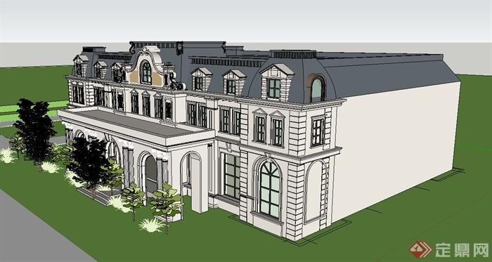欧式两层精致会所建筑设计su模型(2)