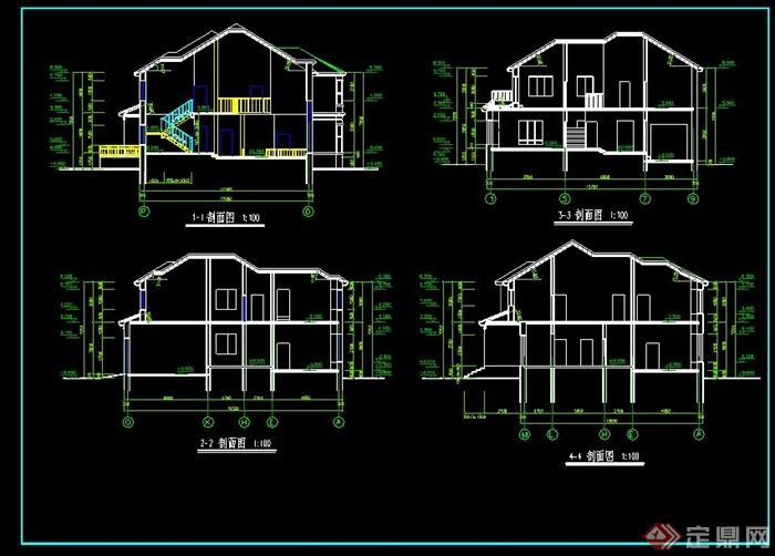 两层美式农村别墅自建房效果图+cad施工图[原创]