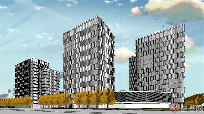 現代某高層商業產業園建筑設計su模型[原創]
