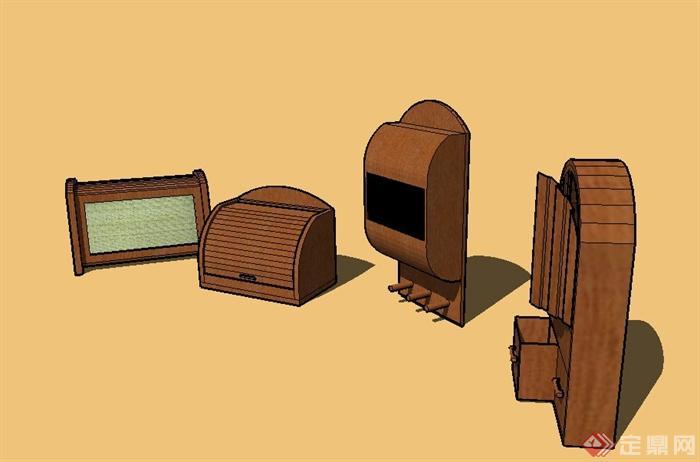 四个室内木质食物盒子设计su模型(3)