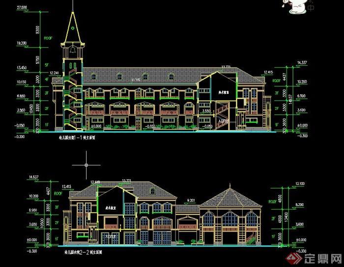 欧式三层幼儿园建筑设计cad方案图