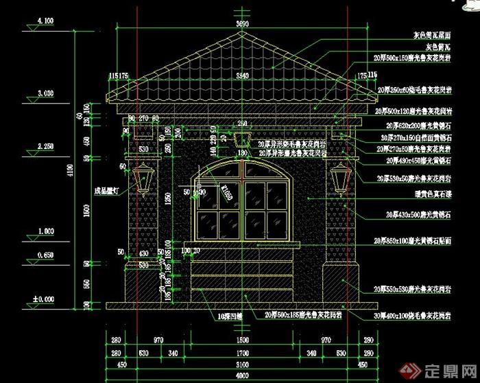 欧式风格门卫室设计cad详图